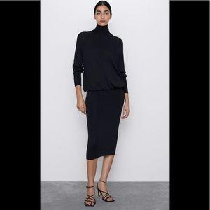 ZARA BLACK LBD Fitted Skirt Knit Midi Dress sz LRG